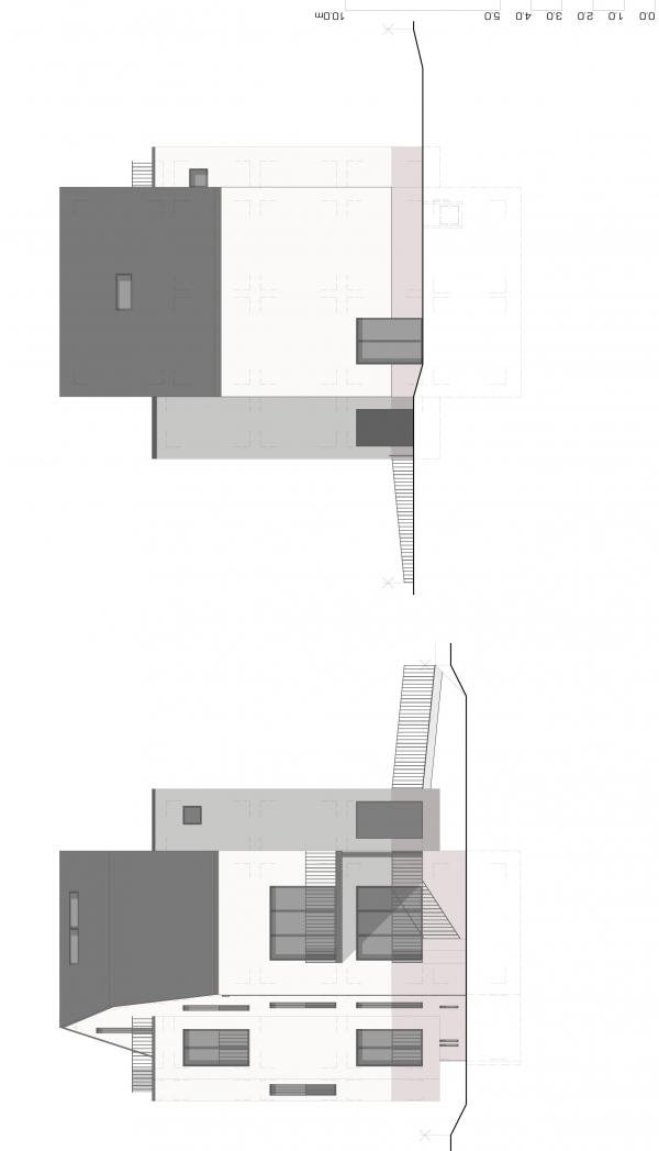 Südwest-/Nordost-Fassade
